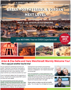 Free Break Forth Israel & Jordan: NEXT Level Brochure